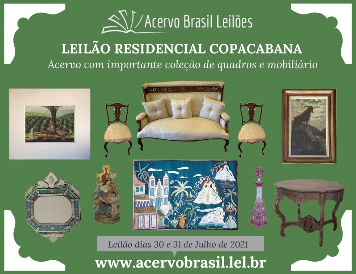LEILÃO RESIDENCIAL COPACABANA - Acervo com importante coleção de quadros e mobiliário - JUL/2021