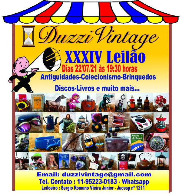 XXXIV LEILÃO DUZZI VINTAGE - Antiguidades-Colecionismo-Brinquedos-Discos-Livros e muito mais.