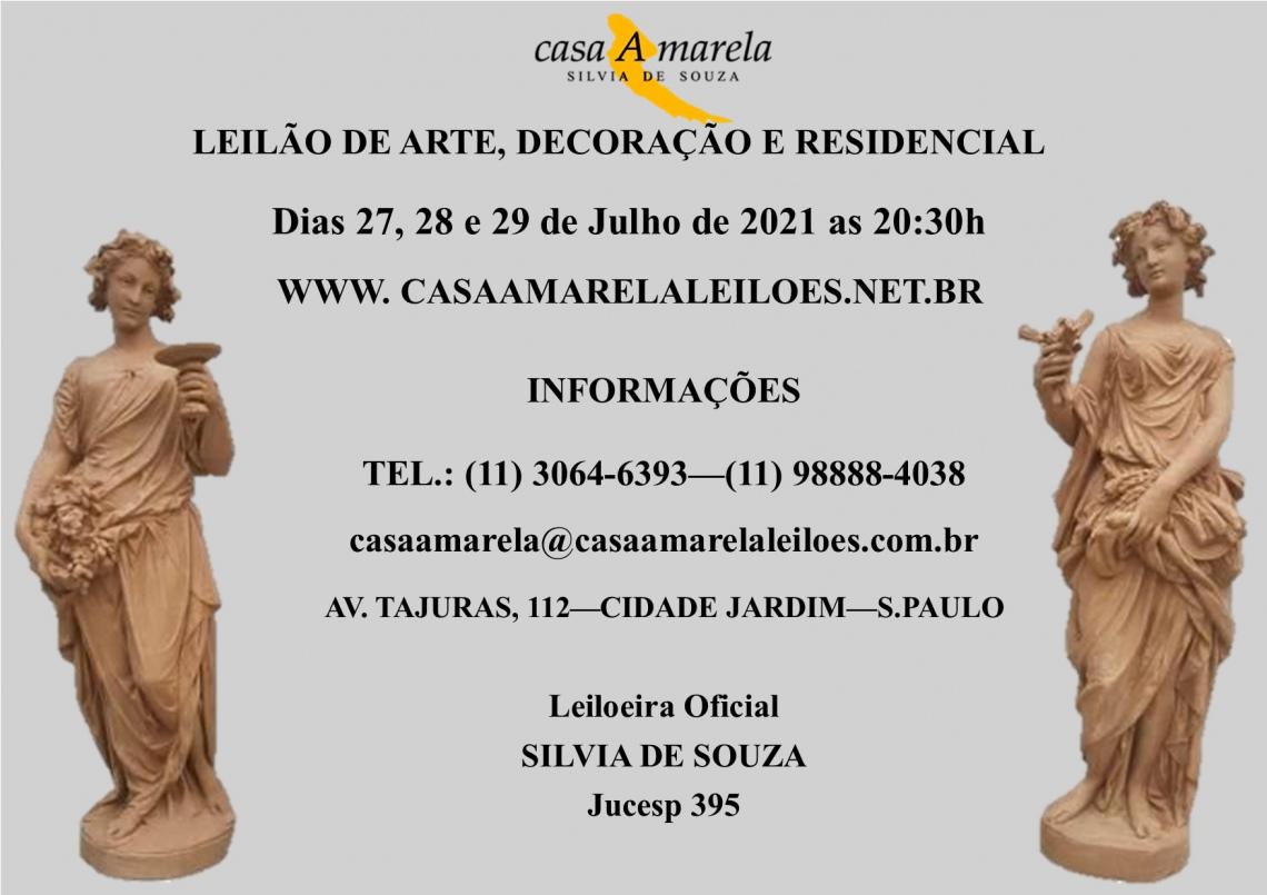 LEILÃO DE ARTE, DECORAÇÃO, RESIDENCIAL, JOAIS E ARTIGOS DE LUXO