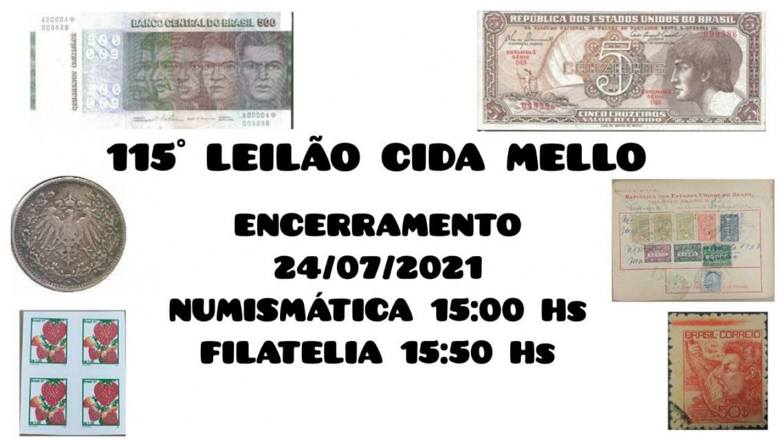 115º LEILÃO CIDA MELLO NUMISMÁTICA E FILATELIA
