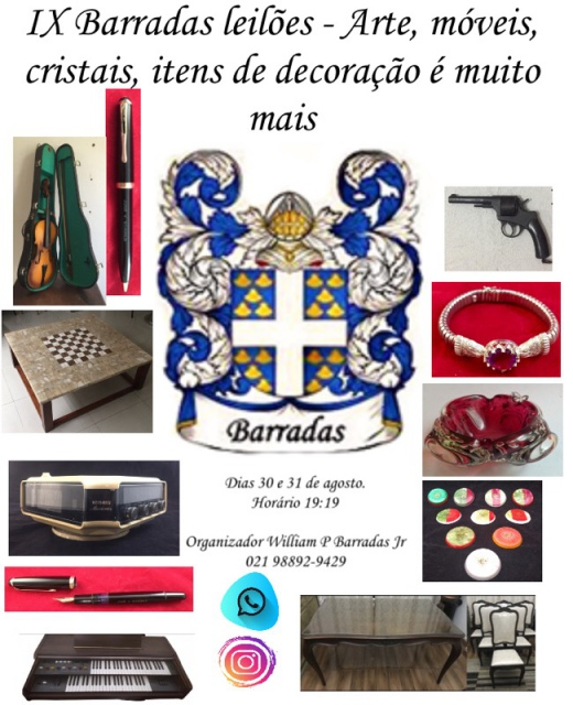 IX Barradas Leilões - Arte, colecionismo, Móveis, Cristais, Itens de Decoração e muito mais
