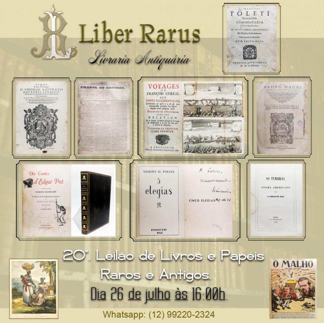 20º Leilão de Livros e Papéis Raros e Antigos - Liber Rarus - 26/07/2021 - 16h00