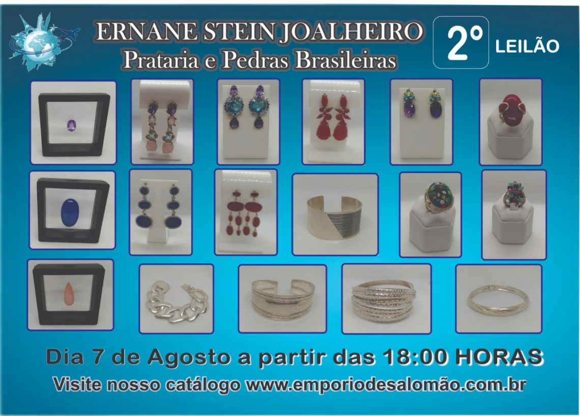 Leilão Ernane Stein - Prata 925 e Pedras Brasileiras