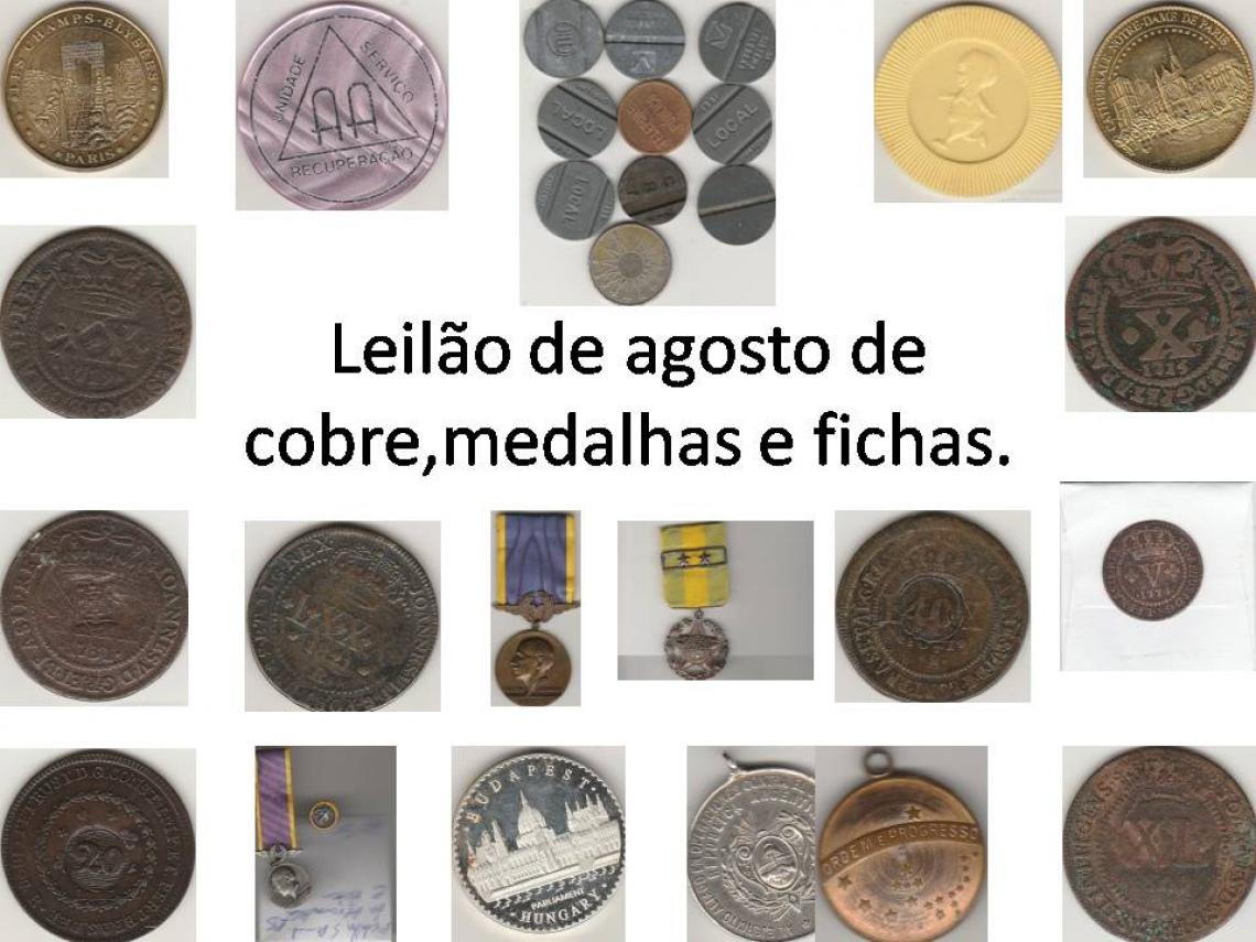 LEILÃO DE MOEDAS DE COBRE, MEDALHAS E FICHAS DE AGOSTO, FAUSTÃO NUMISMÁTICA.