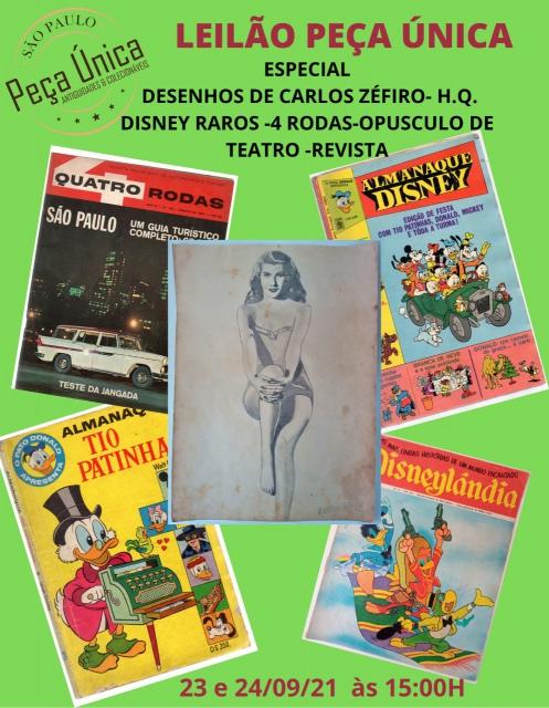 LEILÃO DESENHOS DE CARLOS ZÉFIRO- H.Q. DISNEY RAROS -4 RODAS-OPUSCULO DE TEATRO -REVISTA ...