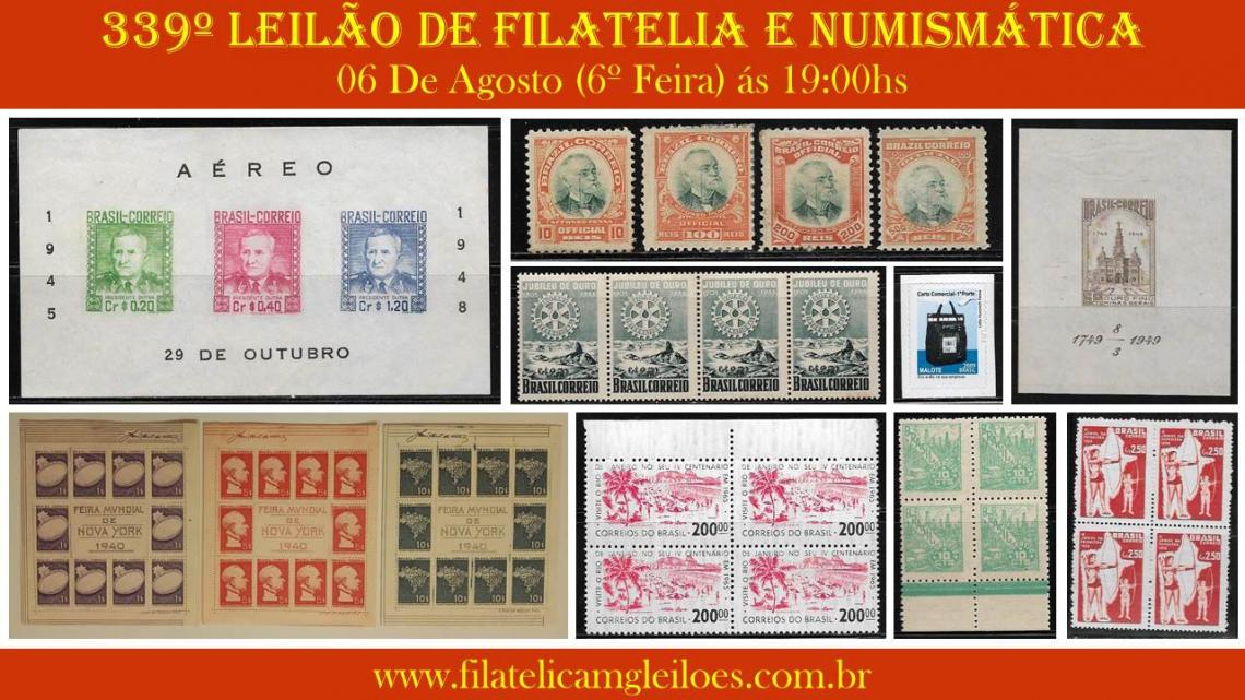 339º Leilão de Filatelia e Numismática