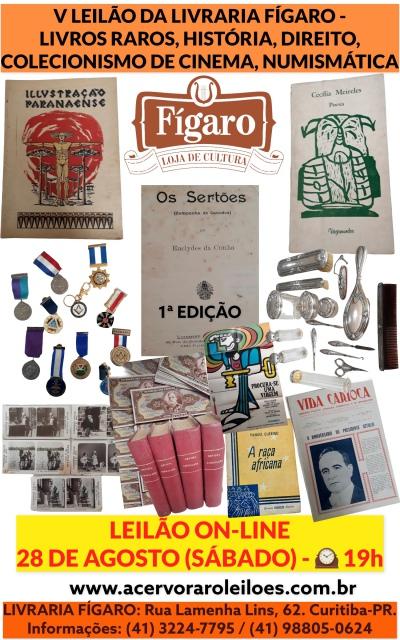 V LEILÃO DA LIVRARIA FÍGARO - LIVROS RAROS, HISTÓRIA, DIREITO, COLECIONISMO DE CINEMA,NUMISMÁTICA