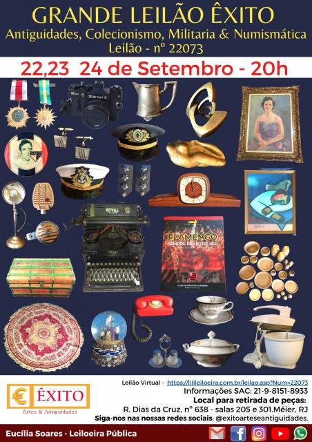 2º GRANDE LEILÃO ÊXITO - Antiguidades, Obras de Artes, Colecionismo, Militaria & Numismática.