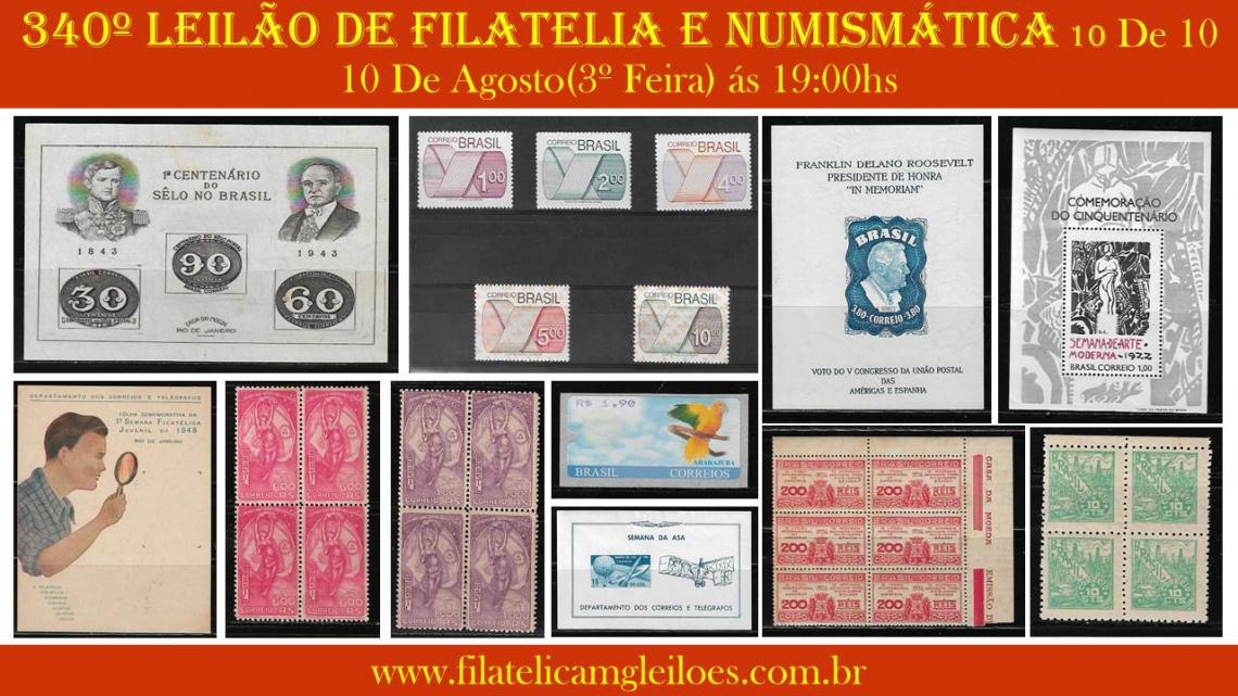 340º Leilão de Filatelia e Numismática