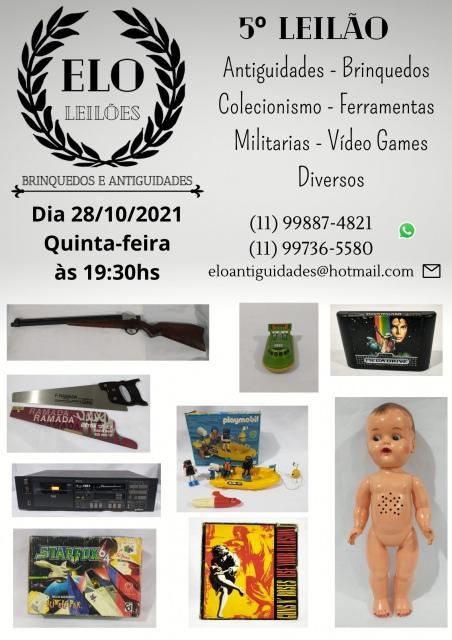 5º Leilão de Antiguidades, Brinquedos antigos, Colecionismo, Discos de Vinil, Vídeo games e diversos