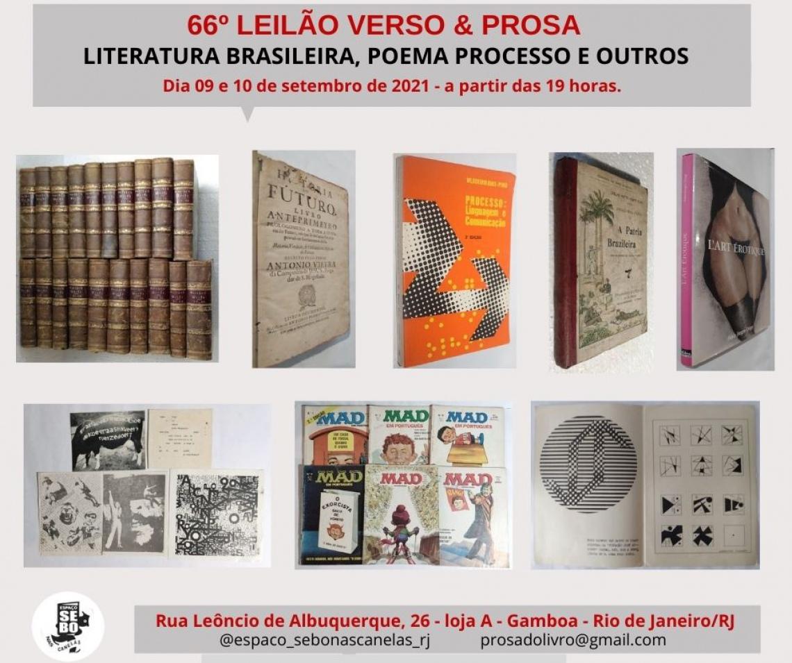 66º LEILÃO VERSO & PROSA -  LITERATURA BRASILEIRA, POEMA PROCESSO E OUTROS