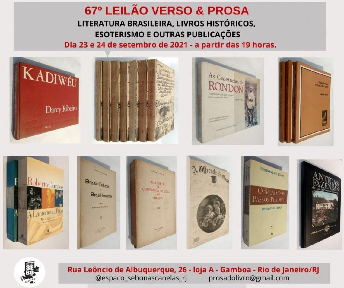 67º LEILÃO VERSO & PROSA - LITERATURA BRASILEIRA, LIVROS HISTÓRICOS, ESOTERISMO E OUTRAS PUBLICAÇÕES