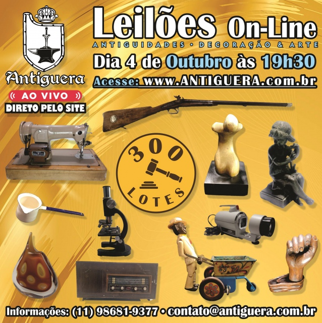 LEILÃO DE ANTIGUIDADES, DECORAÇÃO E ARTE - 04/10/2021 - às 19h30 - 300 LOTES