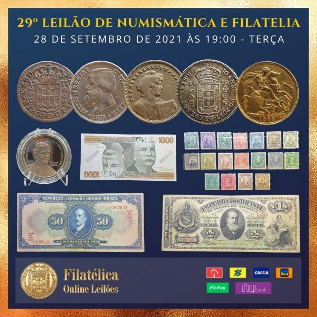 29º LEILÃO DE NUMISMÁTICA E FILATELIA - FILATÉLICA ONLINE LEILÕES