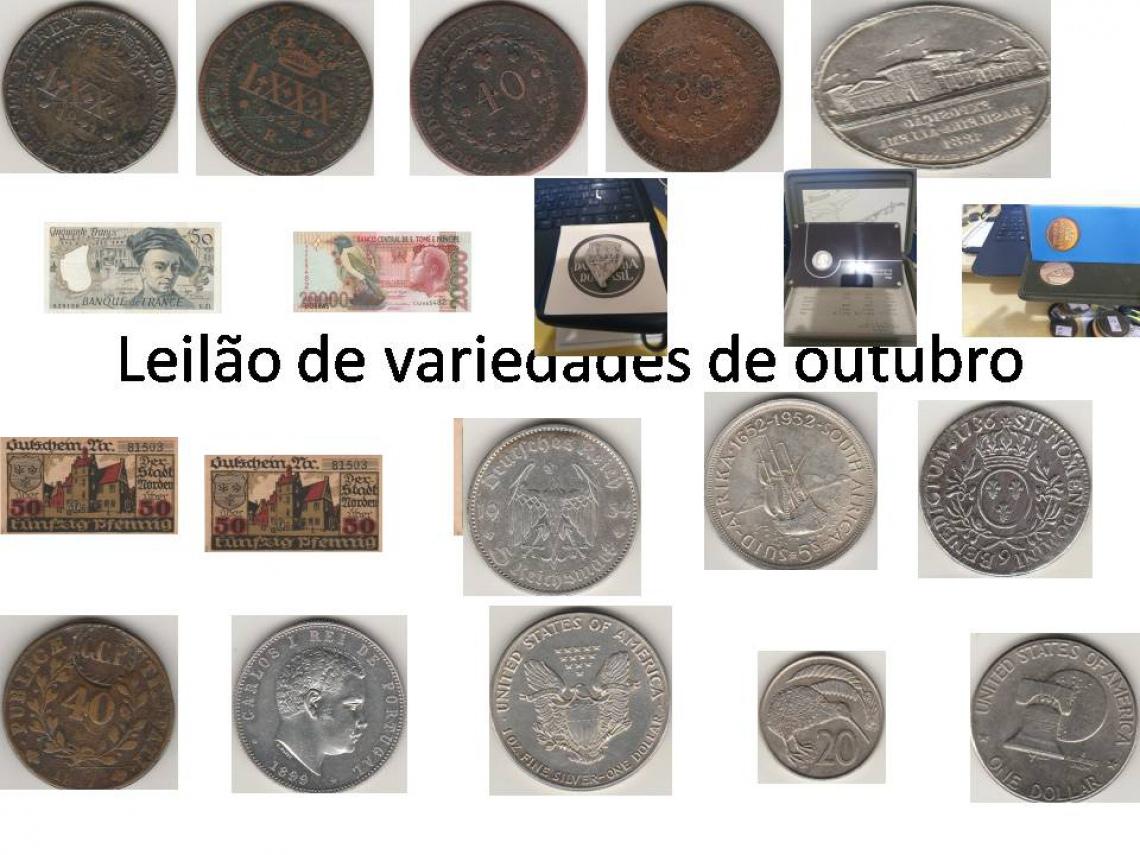 LEILÃO DE COBRE, MEDALHAS,  JETONS E CÉDULAS E MOEDAS ESTRANGEIRAS.