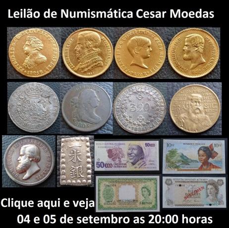 LEILÃO DE MOEDAS OURO E PRATA, CÉDULAS E MEDALHAS