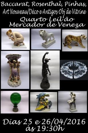 4º LEILÃO MERCADOR DE VENEZA- Baccarat, Rosenthal, Pinhas, Art Nouveau/Déco e Antigos Obj de Vitrine