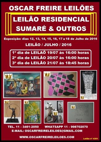 LEILÃO RESIDENCIAL SUMARÉ E OUTROS TEL. 11-34612050