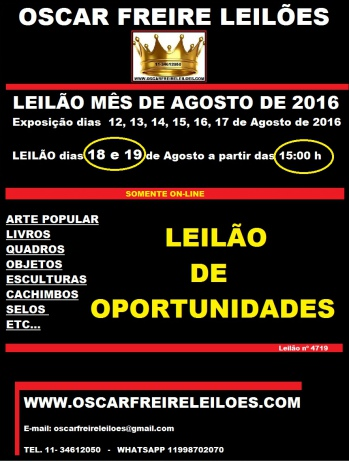 LEILÃO DE OPORTUNIDADES AGOSTO DE 2016 OSCAR FREIRE LEILÕES