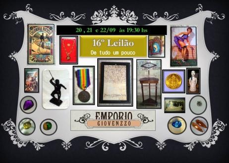 16º LEILÃO DE TUDO UM POUCO - ARTES, NUMISMÁTICA, MÓVEIS E COLECIONISMO  MG