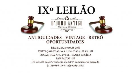 IXº LEILÃO VINTAGE - RETRÔ - ANTIGUIDADES E OPORTUNIDADES