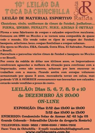 10º LEILÃO TOCA DA CHINCHILLA - MATERIAL ESPORTIVO
