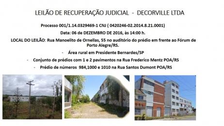 LEILÃO JUDICIAL DE IMÓVEIS EM PRESIDENTE BERNARDES/SP E PORTO ALEGRE/RS