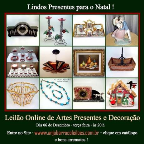 LEILÃO DE OBJETOS DE ARTE, PRESENTES E DECORAÇÃO
