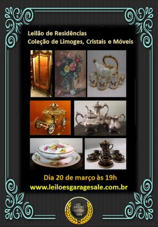Leilão de Residências: Coleção de Limoges, Arte Sacra, Cristais e Móveis