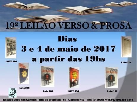 19º LEILÃO VERSO E PROSA - LIVROS RAROS, DIFÍCEIS E ESGOTADOS