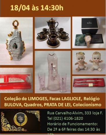 Leilão PROMOCIONAL - LIMOGES, Facas LAGUIOLE, Arte Sacra, Porcelana e Prata 90 Inglesa do Sec. XIX
