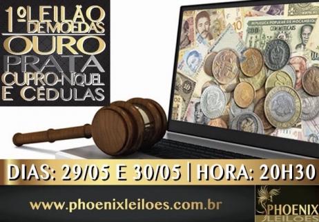 1 LEILÃO DE MOEDAS - OURO, PRATA, CUPRO NÍQUEL E CÉDULAS