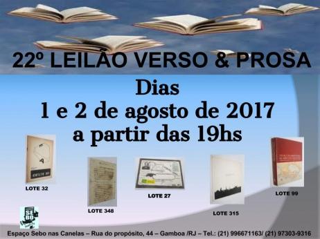 22º LEILÃO VERSO E PROSA - LIVROS RAROS, DIFÍCEIS E ESGOTADOS