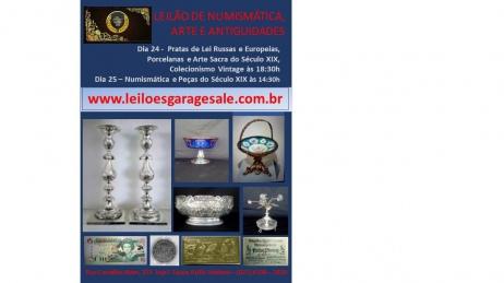 LEILÃO DE RESIDÊNCIAS-Pratas Russas, Porcelanas e Arte Sacra do Século XIX, Numismática e Vintage