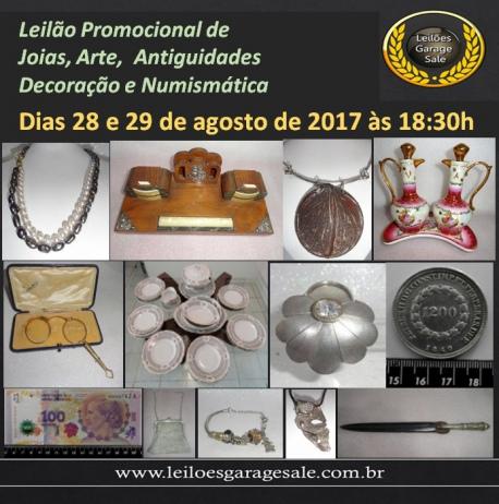 LEILÃO PROMOCIONAL DE JOIAS, ARTE E ANTIGUIDADES, DECORAÇÃO E NUMISMÁTCA.
