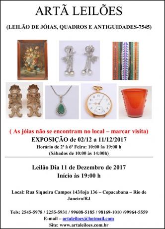 LEILÃO DE JÓIAS, QUADROS E ANTIGUIDADES - 7545 - ARTÃ LEILÕES