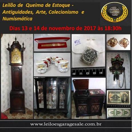 Leilão de Queima de Estoque - Antiguidades, Arte, Colecionismo e Numismática