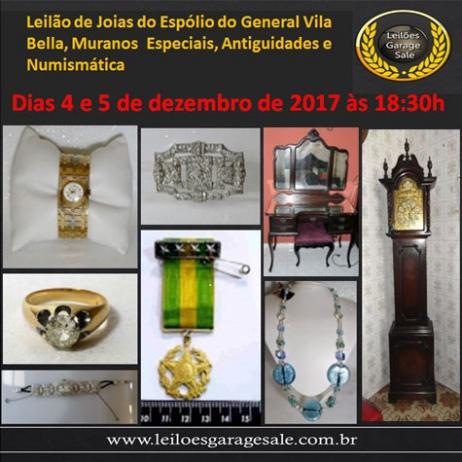 Leilão de Joias do Espólio do General Vila Bella, Muranos Exclusivos, Antiguidades e Numismática