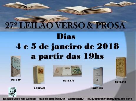 27º LEILÃO VERSO E PROSA - LIVROS RAROS, DIFÍCEIS E ESGOTADO