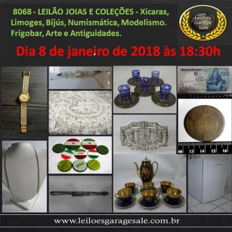 LEILÃO JOIAS COLEÇÕES-Xícaras, Limoges, Bijús, Numismática, Modelismo. Frigobar, Arte e Antiguidades