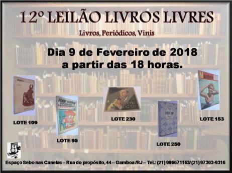 12º LEILÃO LIVROS LIVRES - LIVROS, PERIÓDICOS, VINIS