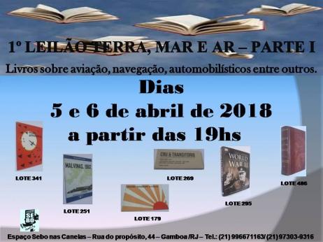 1ºLEILÃO TERRA, MAR E AR-I: Livros de Temas Variados,com ênfase na Aviação,Navegação e Automobilismo
