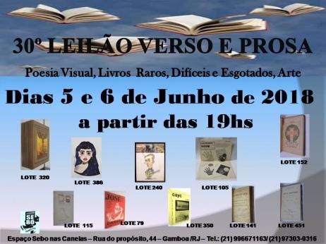 30º LEILÃO VERSO E PROSA - LIVROS RAROS, DIFÍCEIS E ESGOTADOS