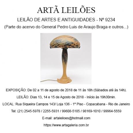 ARTÃ LEILÕES - LEILÃO DE ARTES E ANTIGUIDADES N 9234 (Parte do acervo do General Pedro L. de Araujo