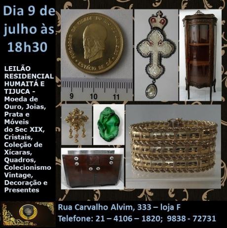 LEILÃO RESIDENCIAL HUMAITÁ E TIJUCA - JOIAS, PRATA E MÓVEIS SEC. XIX, CRISTAIS,  XÍCARAS, QUADROS