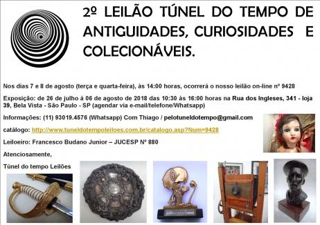 2º LEILÃO TÚNEL DO TEMPO COLECIONISMO, ANTIGUIDADES E OBJETOS DE DECORAÇÃO