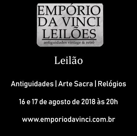 4º Leilão do Empório da Vinci de Antiguidades,Cacarecos, Arte Sacra Barroca e Relógios antigos