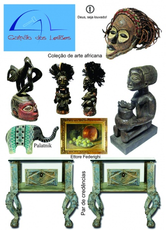 LEILÃO DE ARTE (destaque p/ tribal africana), CURIOSIDADES, DECORAÇÃO E LIVROS - 25 e 27/8/2018.