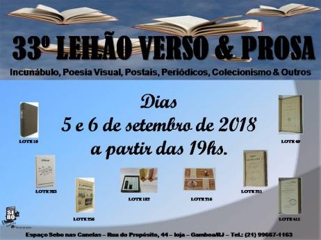 33º LEILÃO VERSO & PROSA - Incunábulo, Poesia Visual, Postais, Periódicos, Colecionismo & Outros