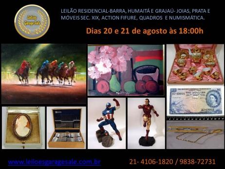 LEILÃO RESIDENCIAL - GRAJAÚ, HUMAITÁ E BARRA - JOIAS, ACTION FIGURE, MÓVEIS, QUADROS E NUMISMÁTICA